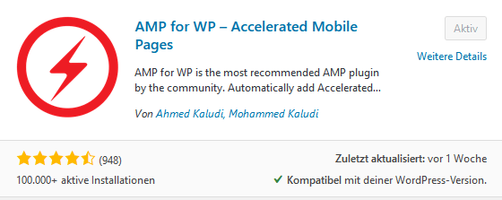 AMP For WP Plugin installiert