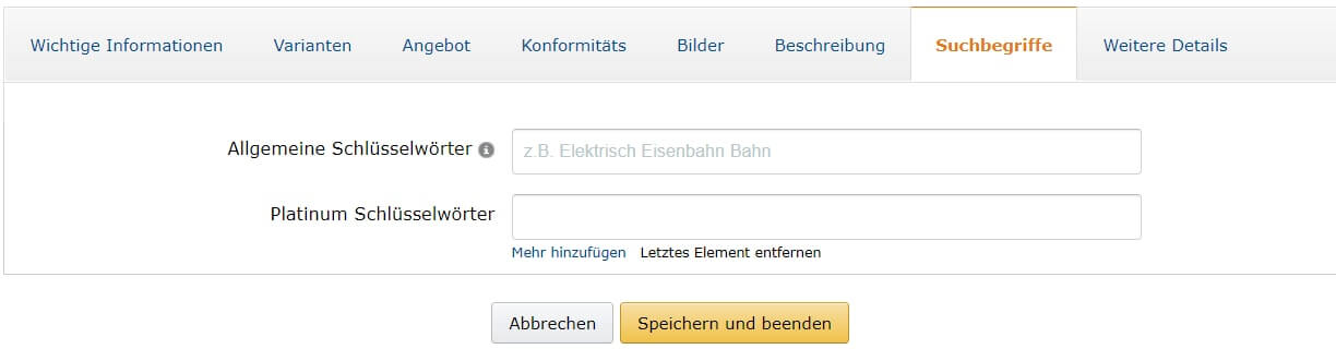 Screenshot Amazon Schlüsselwörter