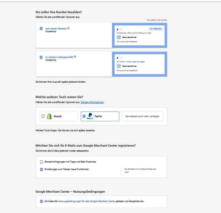 Schnittstellen PayPal & Shopify Merchant Center Account