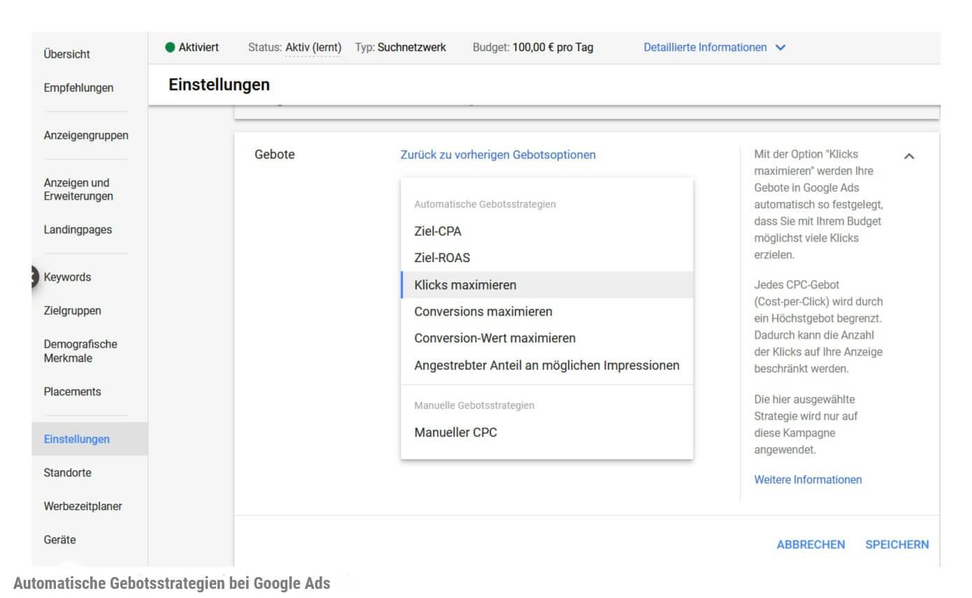 Screenshot Automatische Gebotsstrategien bei Google Ads