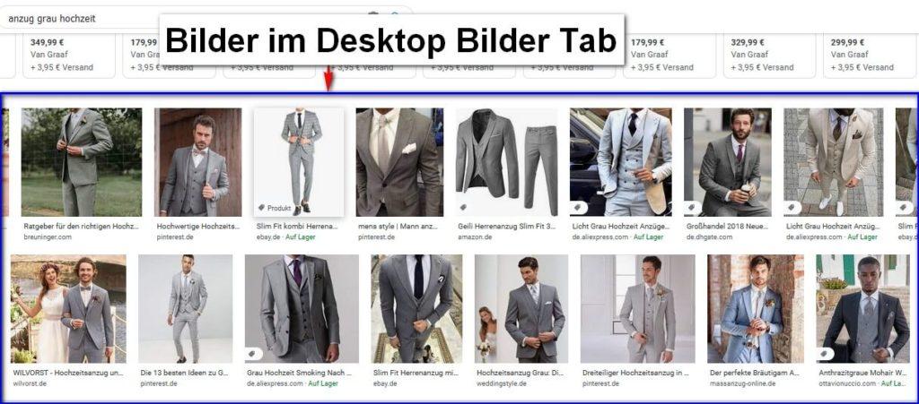 Bilder im Desktop Bilder Tab