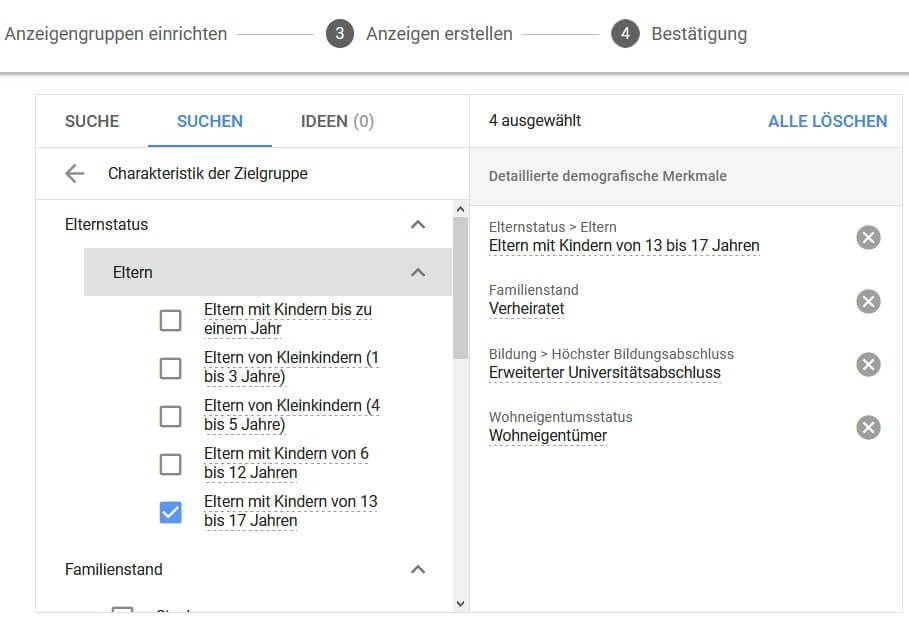 Screenshot Charakteristik der Zielgruppe Google Ads