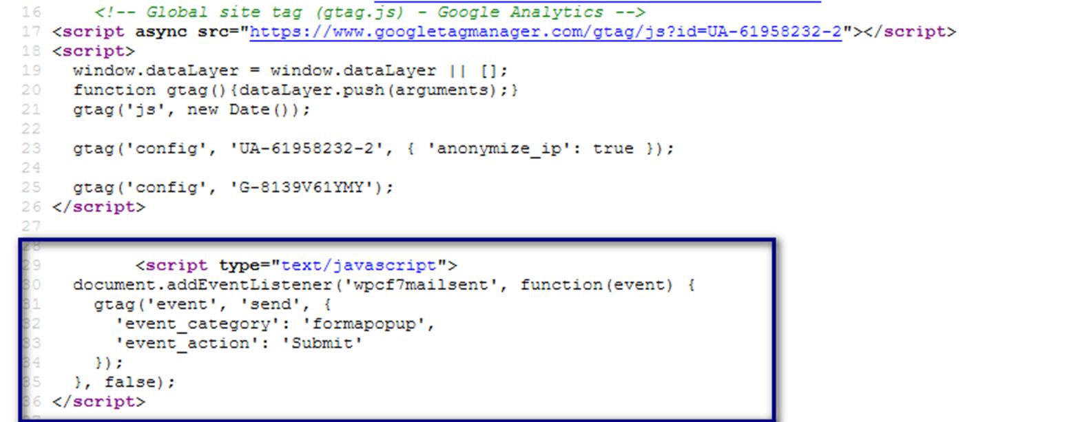 Code GA4 Conversion Messung