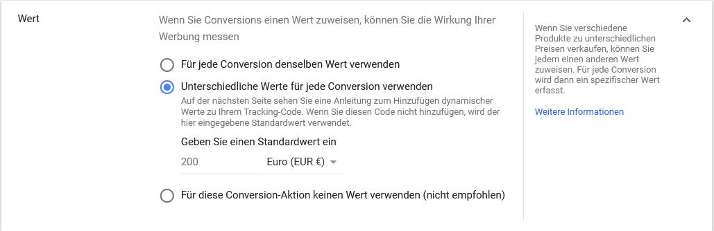Conversion Wert Google Ads