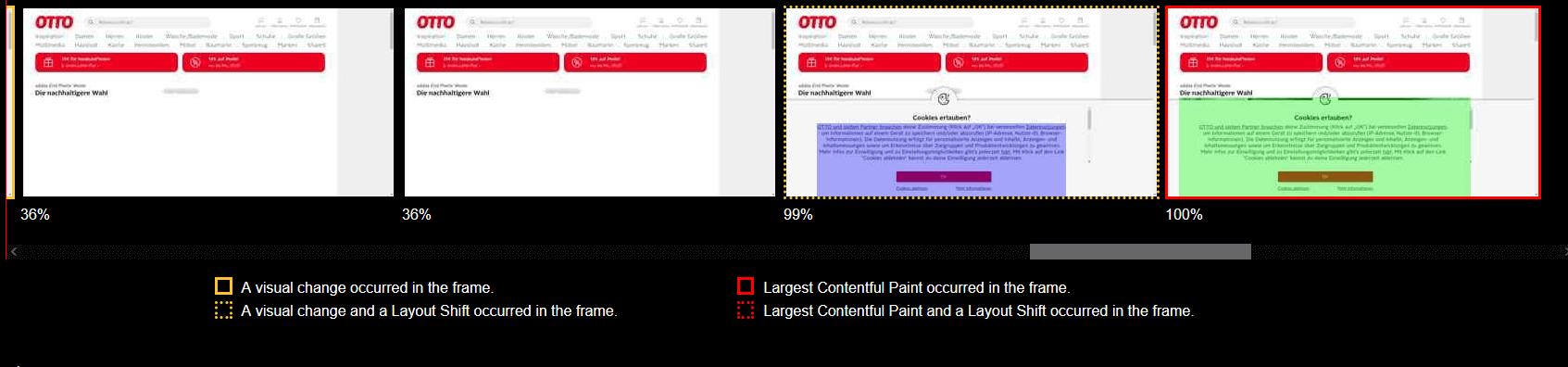 Core Web Vitals im WebPageTest Otto Filmstrip