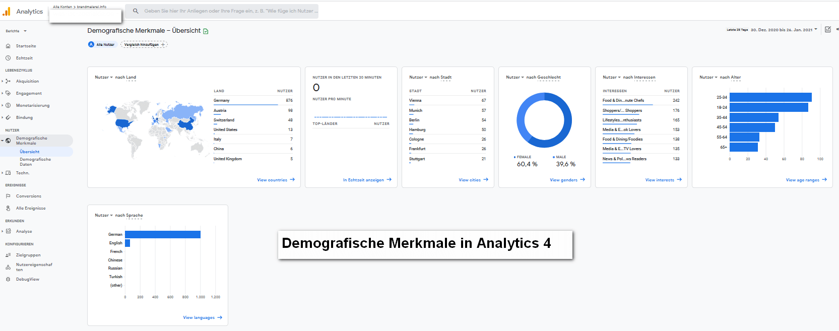 Demografische Merkmale in Analytics 4