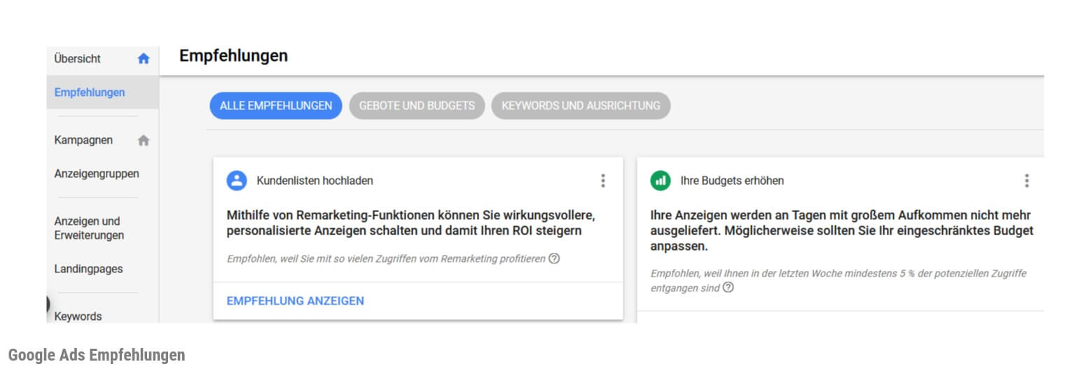 Screenshot Google Ads Empfehlungen