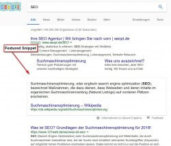 Screenshot Featured Snippets in den Suchergebnissen