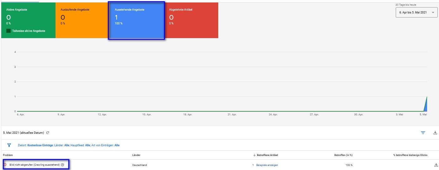 Google Merchant Center - Produktüberprüfung ausstehend