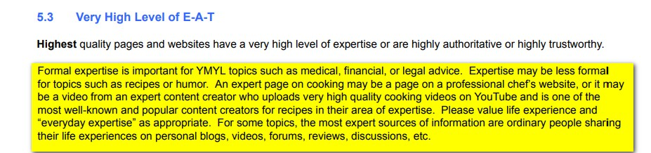 Google Search Quality Rater Guidelines Definition Expertise