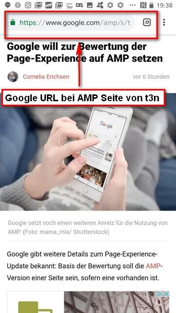 URL von Google bei AMP Seite des t3n Digitalmagazins