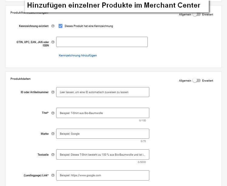 Hinzufügen eines einzelnen Produktes im Merchant Center