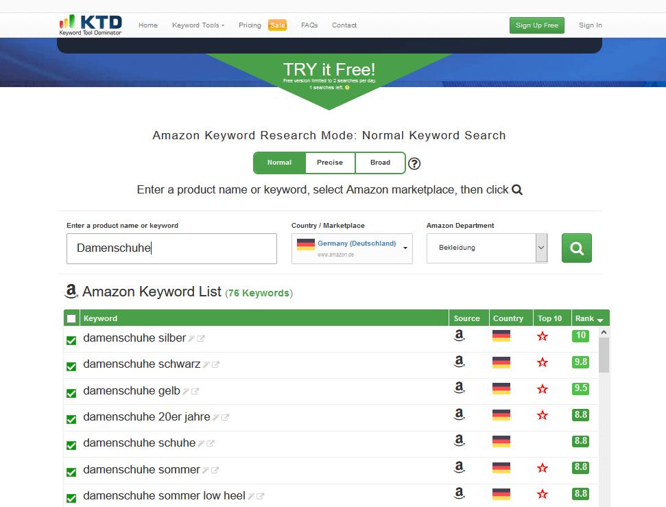 Screenshot Keyword Tool Dominator