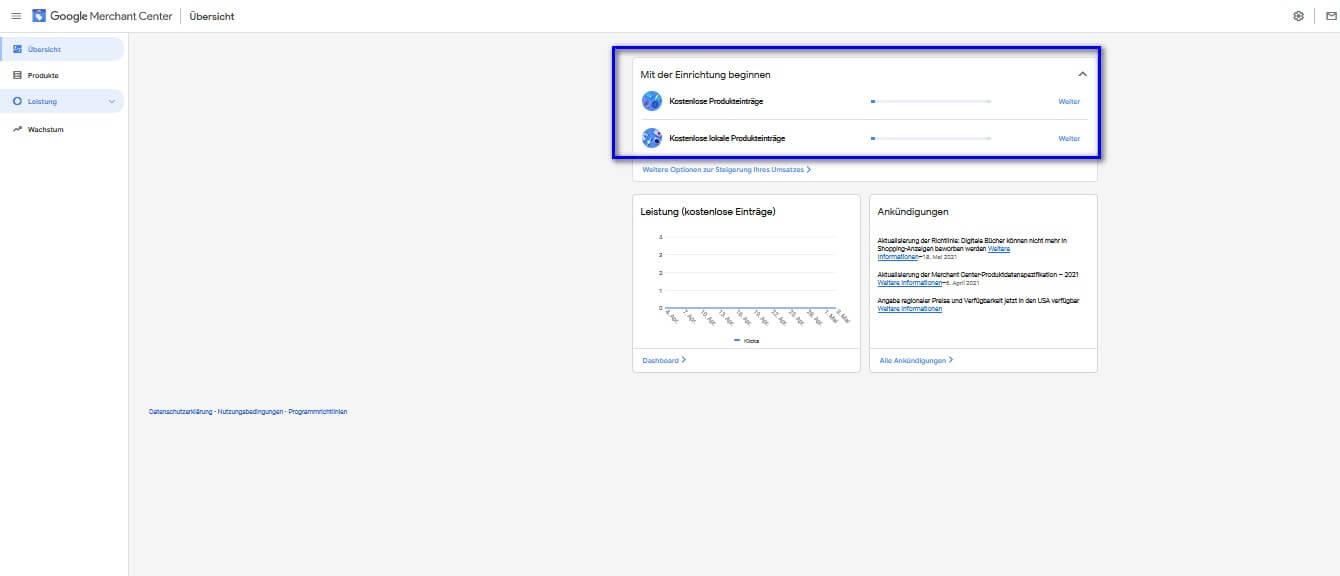 Kostenlose Produkteinträge Google Merchant Center Möglichkeiten