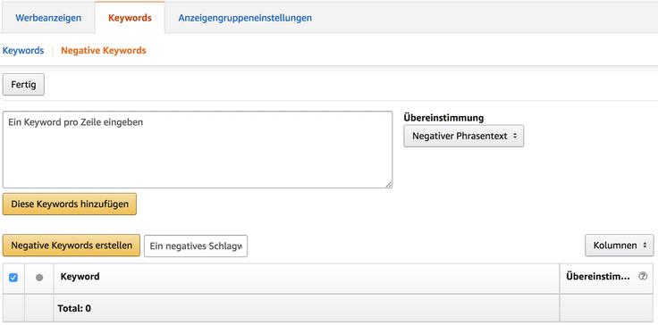 Screenshot Negative Keyword