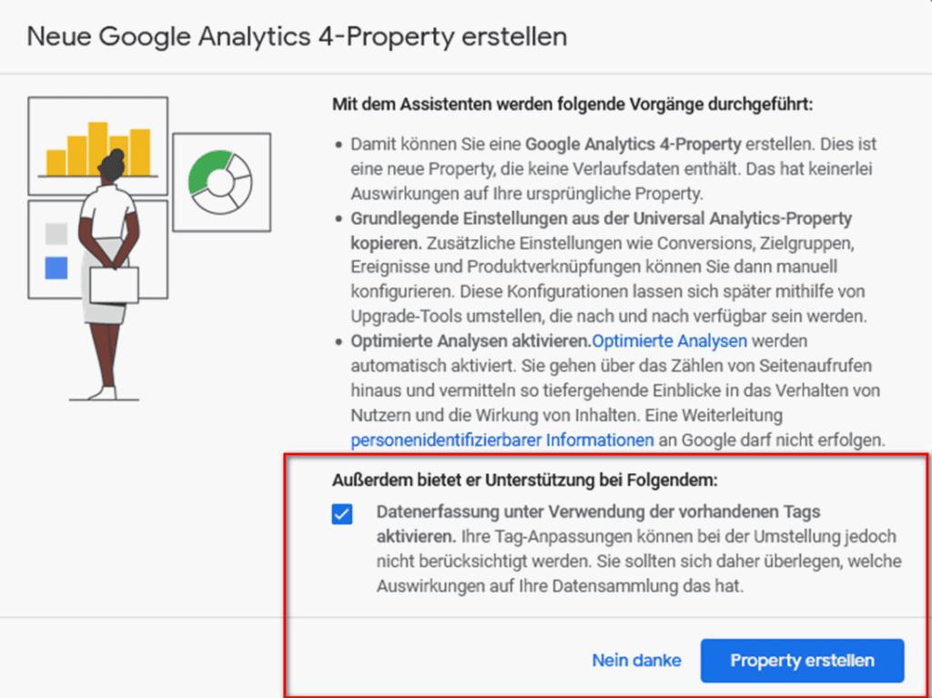Neue Analytics 4 Property erstellen Assistenten 1