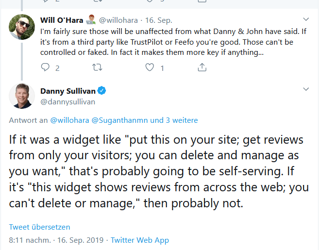 Twitter Screenshot of a Tweet of Google's Danny Sullivan regarding self serving reviews