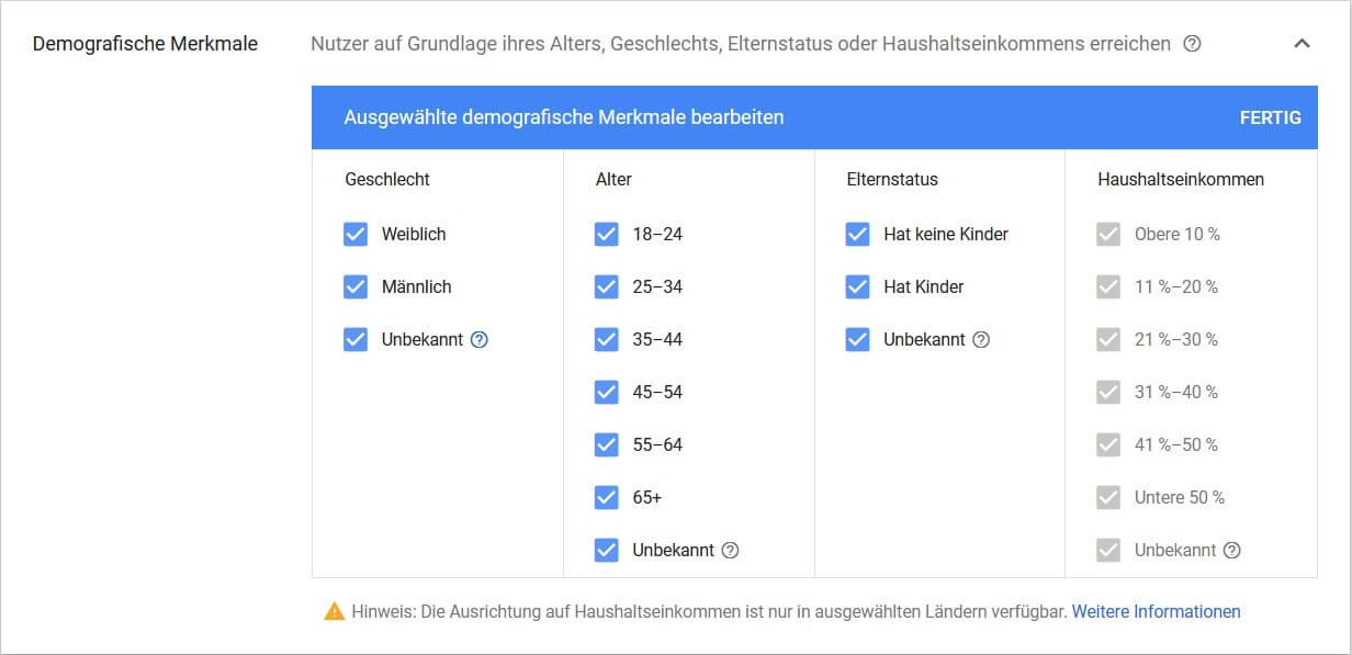 Screenshot Demografische Merkmale Google Ads