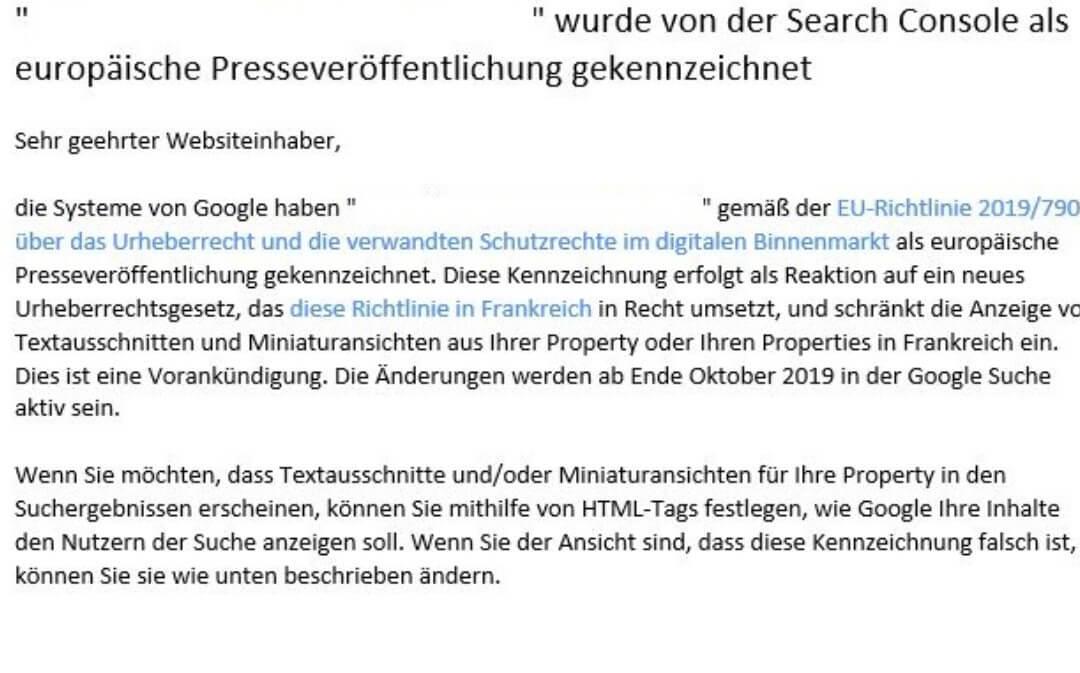 Screenshot Google Search Console Mitteilung neue Meta-Tags Urheberrecht