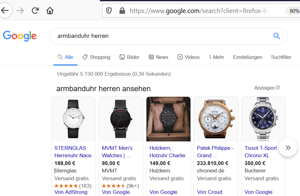 creenshot Google Shopping Ads