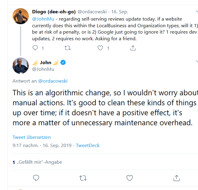 Twitter Screenshot of Google's John Mueller regarding penalty for rich snippets