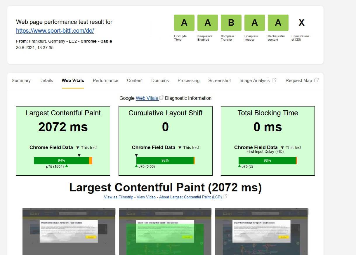 Sport Bittl im Test von WebPageTest