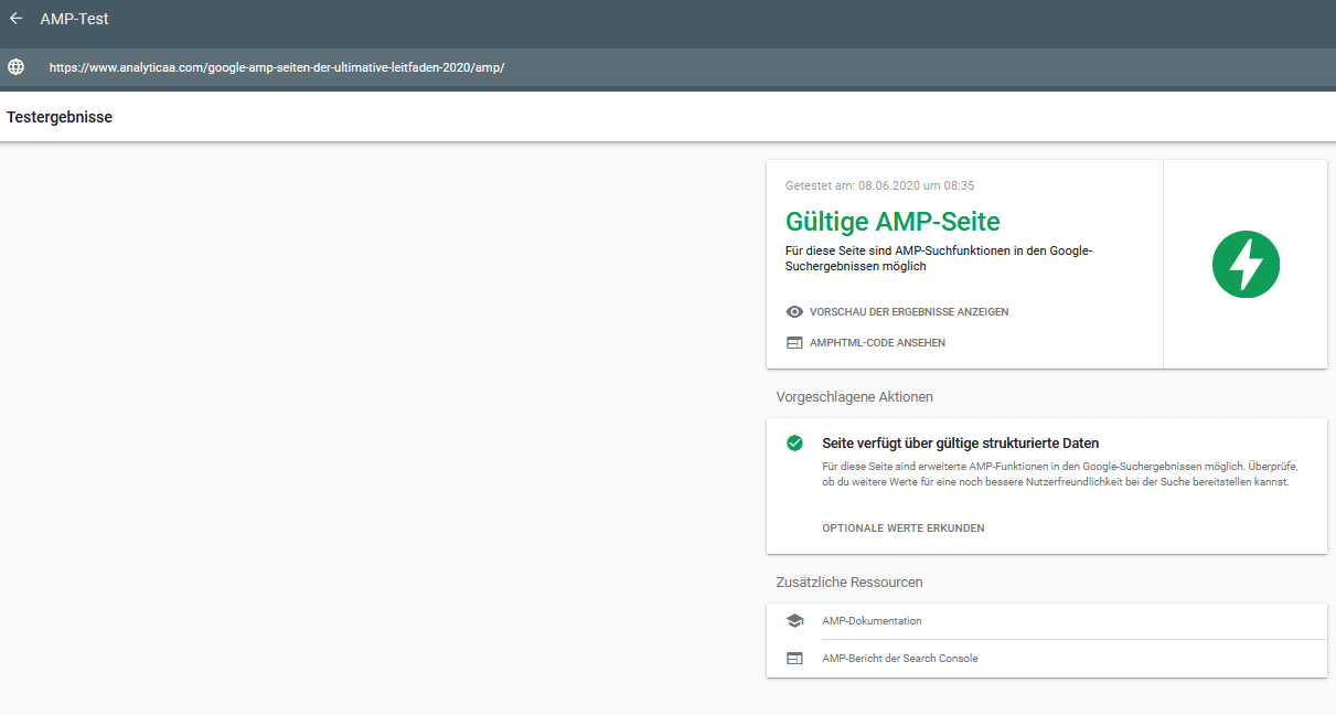 Testergebnisse AMP Google Search Console Test