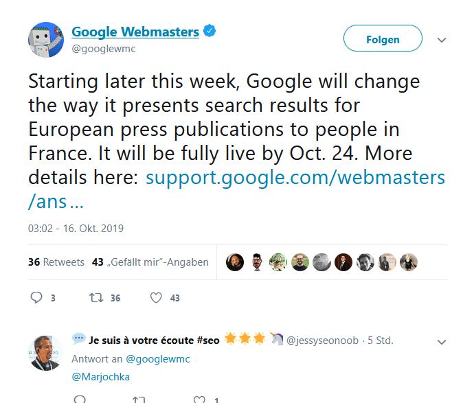 Screenshot Twitter Google Webmaster Urheberrecht Frankreich kein Snippet