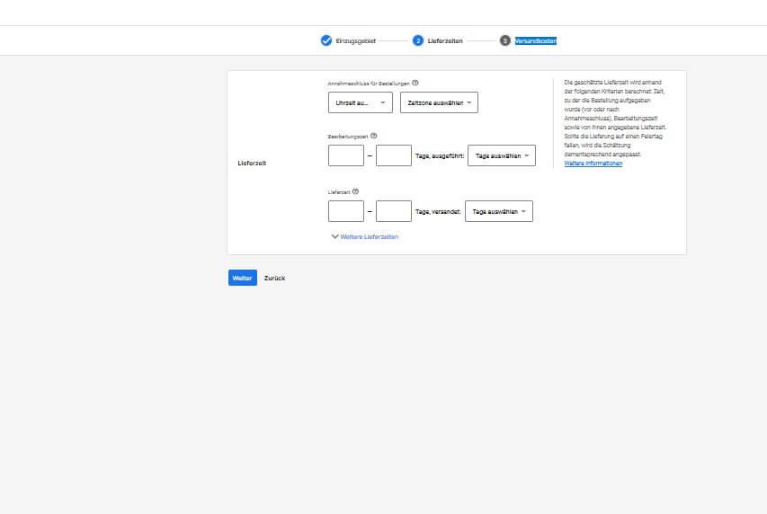 Versandinformationen angeben Google Merchant Center