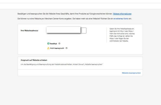 Website beanspruchen - Google Merchant Center