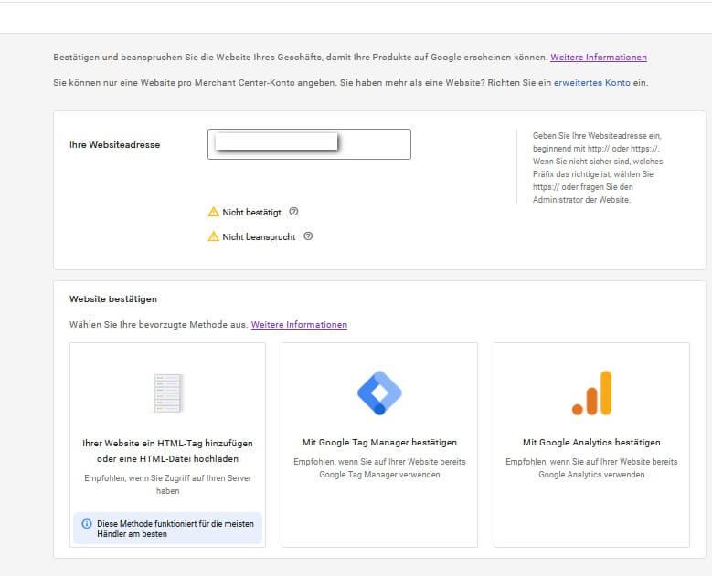Website bestätigen - verschiedene Methoden - Merchant Center