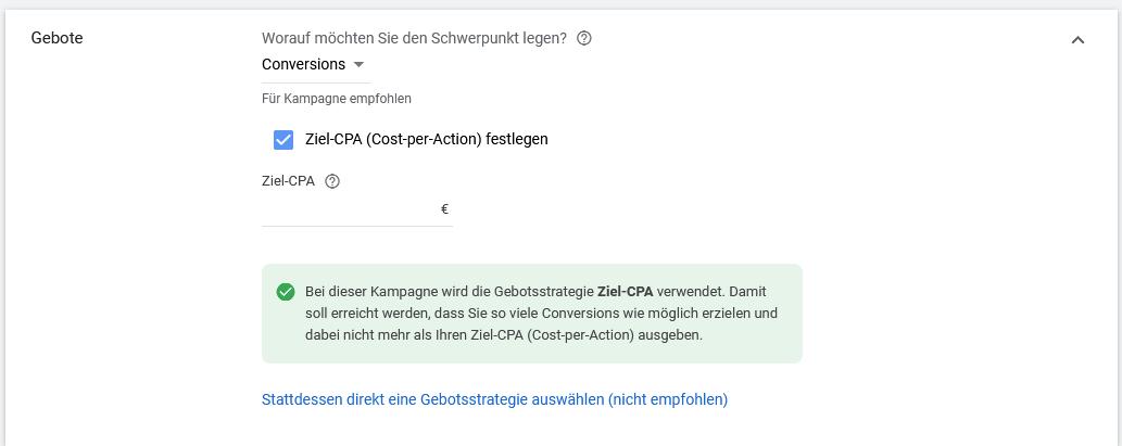 Ziel-CPA Google Ads